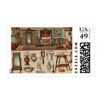 Victorian Bedroom Postage Stamp