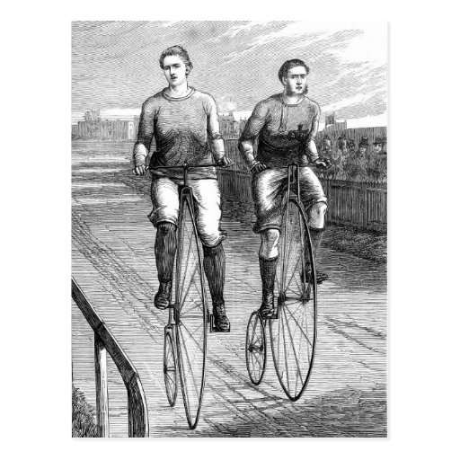 Victorian Bicycle Race Postcard