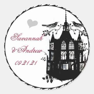 Victorian Bird Cage Pink and Black Wedding Sticker