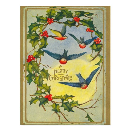 Victorian Bird Christmas Postcard