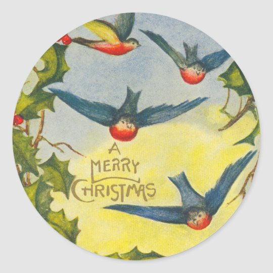 Victorian Bird Christmas Stickers