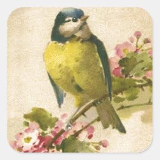 Victorian Bird Illustration Square Sticker