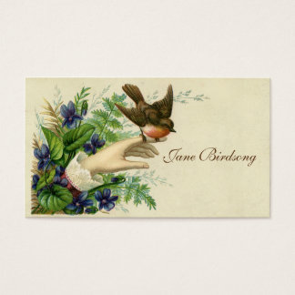 Victorian Bird In Hand Calling Card