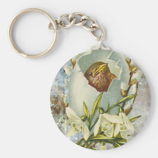 Victorian Bird Nest Egg Hatching Keychain