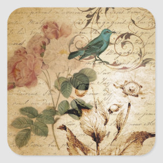 victorian bird Paris French Botanical Rose Square Sticker