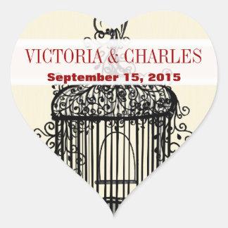 Victorian BirdCage Musical Love Bird Red Weddings Heart Sticker