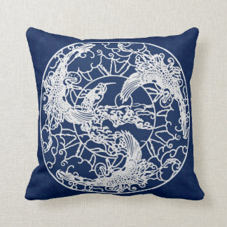 Victorian Birds Blue and White Pillow