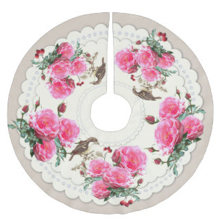 Victorian Birds Roses Christmas Tree Skirt