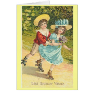 Victorian Birthday boy and girl on rollerskates Cards