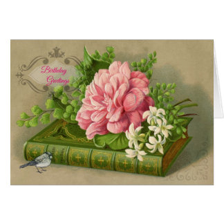 Victorian Birthday Card Pink Roses Vintage Book