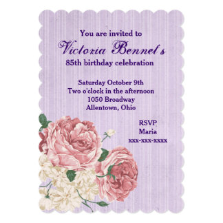 Victorian Birthday With Purple Stripes and Roses Personalized Invite