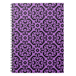 Victorian black and purple kaleidoscopic damask notebook