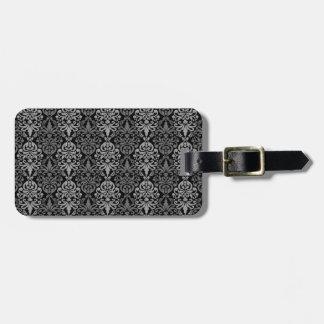 Victorian Black Grey Vintage Damask Lace Pattern Luggage Tag