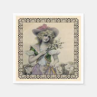 Victorian Blond Little Bo Peep With Sheep in Frame Napkin