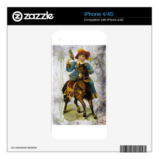 Victorian Blue Dress Girl Riding Horse With Parrot Decal For The iPhone 4S