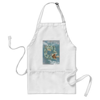 Victorian Blue Floral Bird Wreath Adult Apron