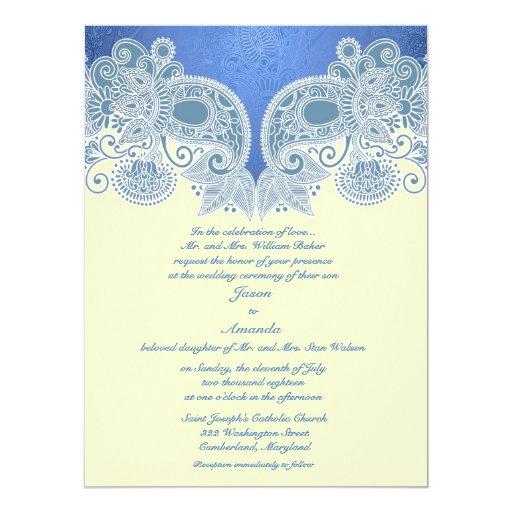Victorian Blue Floral Flat Wedding Invitation