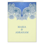 Victorian Blue Floral Folded Wedding Invitation Cards