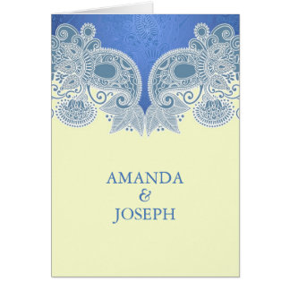 Victorian Blue Floral Folded Wedding Invitation Greeting Card