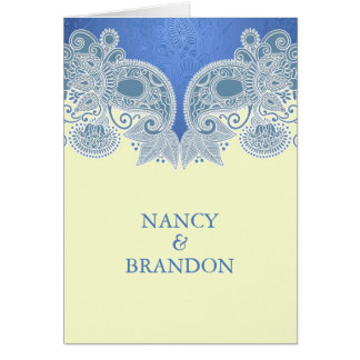 Victorian Blue Floral Folded Wedding Invitation Greeting Cards