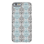 Victorian Blue Grey Vintage Damask Lace Pattern Barely There iPhone 6 Case
