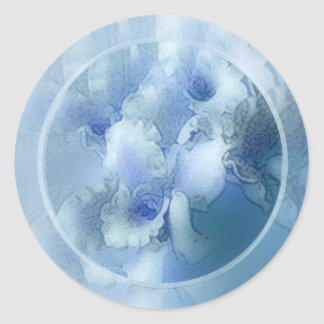 victorian blue orchids envelope seal classic round sticker