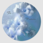 victorian blue orchids gift tags round stickers