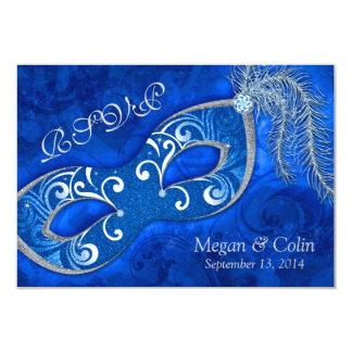 Victorian Blue Silver Masquerade Ball Wedding RSVP Card