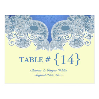 Victorian Blue Wedding Table Number Seats Cards Postcard