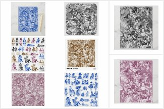 Victorian Books Toile Crafting Supplies