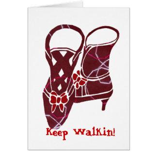 Victorian boots Keep Walkin blank note card