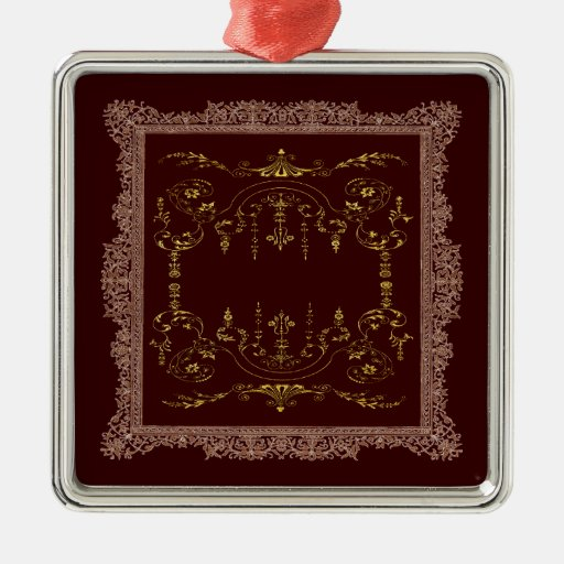 Victorian Borders brown and gold Square Metal Christmas Ornament