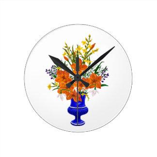 Victorian Bouquet in Blue Vase Round Clock