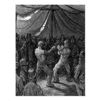 Victorian Boxing match Postcard