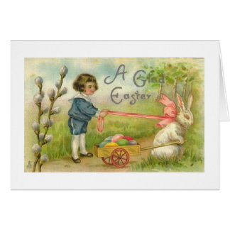 Victorian Boy And Bunny Egg Cart Easter Card Greeting Card