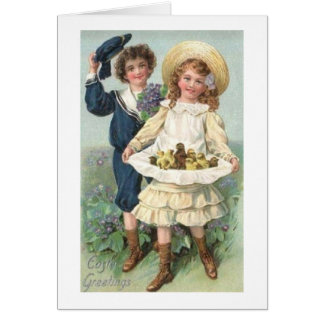 Victorian Boy And Girl Easter Card
