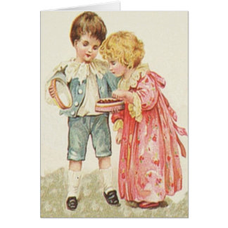 Victorian Boy and Girl with Candy Card