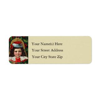 Victorian Boy on Bell Christmas Ornament Custom Return Address Label