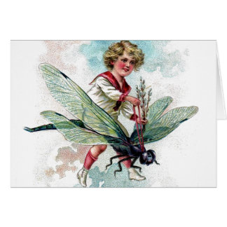Victorian Boy on Dragonfly Blank Note Any Occasion Card