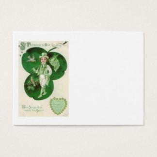 Victorian Boy Shamrock Irish Flag Bird Business Card