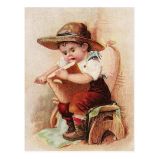 Victorian Boy with Loaf of Bread Postcard