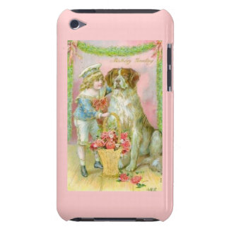 Victorian Boy with St. Bernard Dog Birthday Barely There iPod Cover