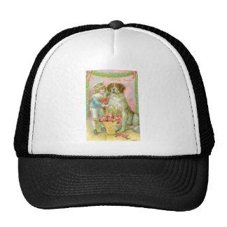 Victorian Boy with St. Bernard Dog Trucker Hat