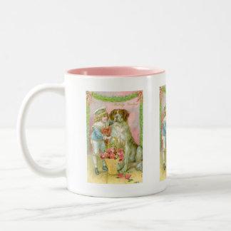Victorian Boy with St. Bernard Dog Two-Tone Coffee Mug
