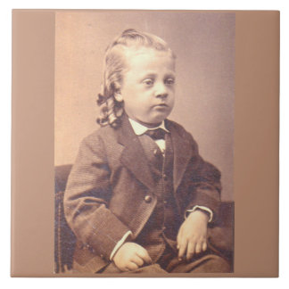 Victorian boy with unfortunate hair style ceramic tile