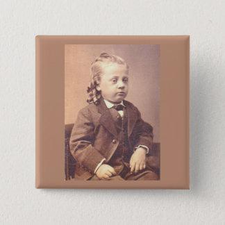 Victorian boy with unfortunate hair style pinback button