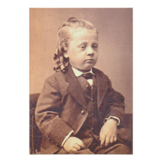 Victorian boy with unfortunate hair style poster