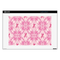 Victorian Breast Cancer Ribbon Damask Products Decals For Laptops