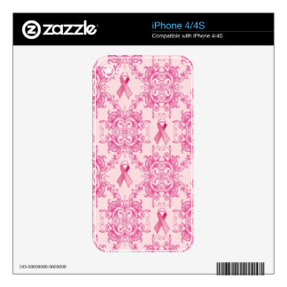 Victorian Breast Cancer Ribbon Damask Products Skin For The iPhone 4