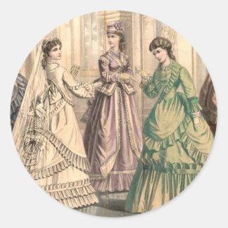 Victorian Bride and Attendants Classic Round Sticker